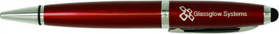 Burgundy With Silver Trim Ballpoint Pen With Stylus  - Engraved Free