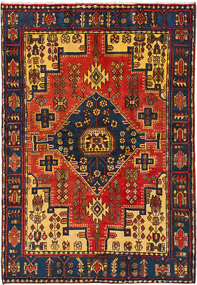 "Hand-knotted Nahavand Red Wool Rug 4'6"" x 6'6"" (2)"