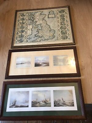 3 x prints 1 ANGLO-SAXON ENGLAND MAP JOHN SPEED 1610 -12 2 X SHIPS WATER SCENES