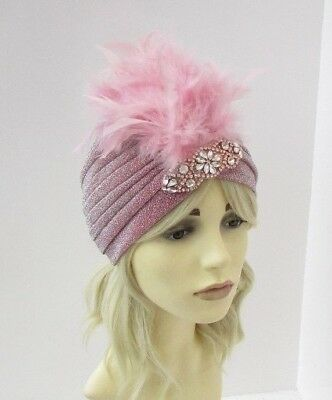 Blush Dusky Pink Rose Gold Feather Turban Headpiece 1920s Flapper Gatsby 6551