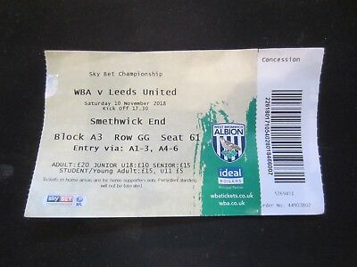 2018/19 CHAMPIONSHIP WEST BROMWICH ALBION  v  LEEDS UNITED   TICKET STUB