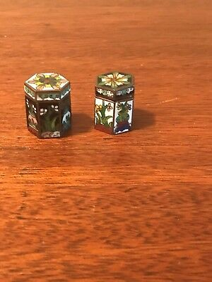 Vintage Pair Of Miniature Chinese Cloisonne 6 Sided Boxes