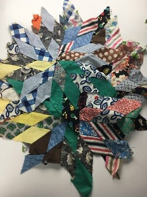 7 Unfinished Quilt Blocks Hand sewn Star