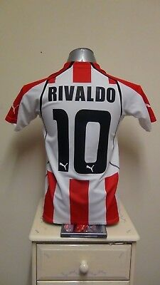 Olympiakos Home Football Shirt Jersey 2005-2006 RIVALDO 10 Small