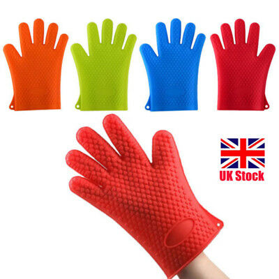 Silicone Heat Resistant Gloves Oven Mitts Proof Kitchen BBQ Cooking Pot Holder