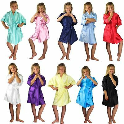 Nine X Satin Children Robe Kids Dressing Gown 2/4 - 12/13 yrs Bridesmaid
