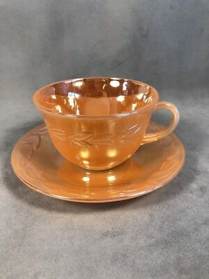 PV02494 Anchor Hocking Fire King PEACH LUSTER LAUREL- Cup and Saucer