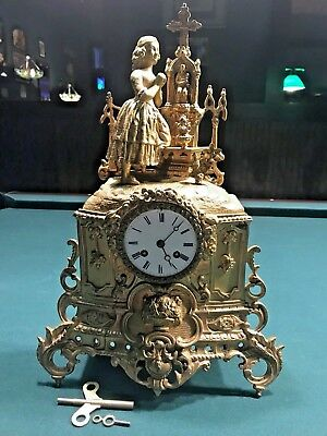 "Antique-French Mantle Clock-Circa 1830-1840 ""Japy"" Silk Thread Movement"