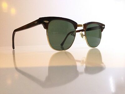 f78568ce7e Vintage Ray Ban Tortoise Clubmaster Sunglasses Bausch   Lomb And Case USA  W0366