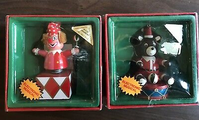Vintage 1984 Electronic Musical Treasure Hand Crafted Wooden Christmas Ornaments