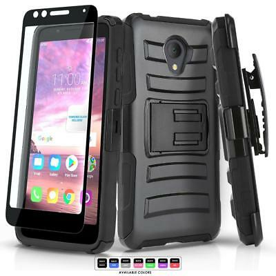 Refined Cover Phone Case & Holster For [Alcatel Tcl Lx] +Black Tempered Glass