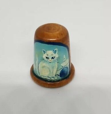 Handpainted Wood Thimble - Kitten
