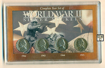 1942-1945 Complete Year set of World War II Silver Nickels Set of 4 Coins (OOAK)