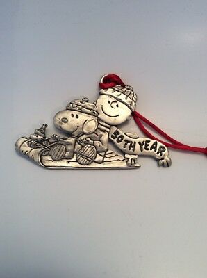 Charlie Brown, Snoopy, Woodstock - Pewter - Christmas Ornament - 50th Year