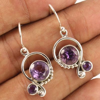 """Semi Precious Amethyst 925 Sterling Silver Two Round Stones Earrings 1 3/8"""""""