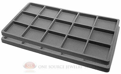 2 Gray Insert Tray Liners W/ 15 Compartments Drawer Organizer Jewelry Displays