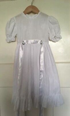 Vintage girl's dress age 4-5 Years floral Embroidery White Christening  Romany
