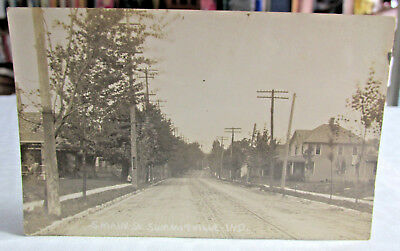 1908-15 SUMMITVILLE INDIANA Real Photo Postcard RPPC of S. Main Street RR Tracks