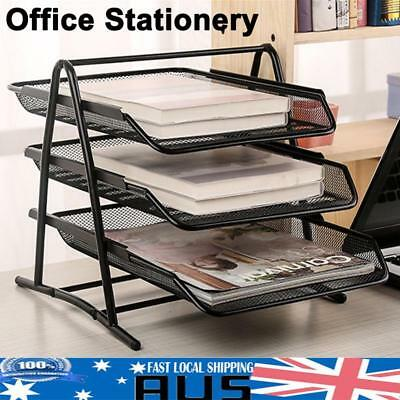 3 Tier Office Metal Mesh Desk File Document Paper Letter Trays Organiser Holder