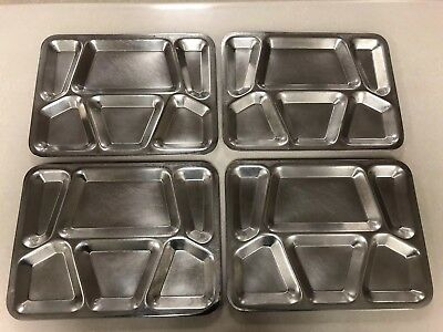 4 Vtg Military Mess Hall Cafeteria Trays Stainless Steel Metal