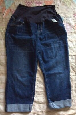 Old Navy Maternity Hello Pretty Mama Cropped Jeans Capris Sz 18 Cuffed