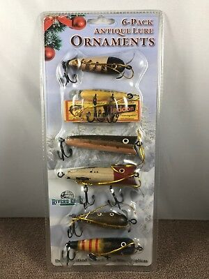 River's Edge Hand Painted Real Wood Antique Lure Ornament Assortment 6 Piece New
