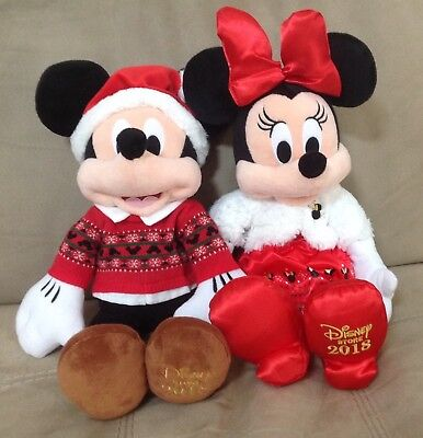 "Disney Store Mickey & Minnie Mouse Holiday 16"" Plush  Stuffed Christmas 2018"