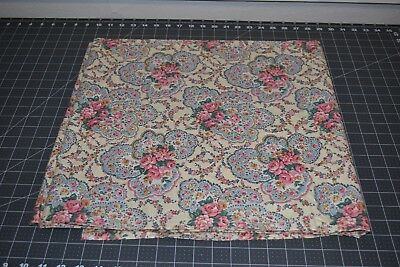 """Vintage blue pink floral cotton fabric 4 yards 2"""" by 36"""""""