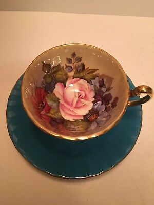 Vintage Aynsley Tea Cup Saucer Turquoise Pink Cabbage Rose Poppies J.A. Bailey