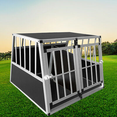 Puppy Pet Dog Cages Crate Carrier Aluminum/Board for Car Transport Small / Large