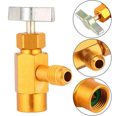 R134A Refrigerant Can Bottle Tap Tapper Opener Connector 1/4 SAE Thread Valve