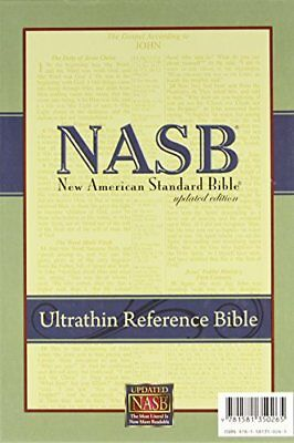 NEW - New American Standard Ultrathin Reference Bible; Black Genuine Leather