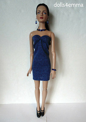 "Blue DRESS AND JEWELRY SET for Tonner 16"" Tyler Sydney etc Fashion NO DOLL d4e"