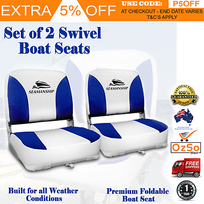 Seamanship Set of 2 Folding Swivel Boat Seats White & Blue Marine Fishing Chairs