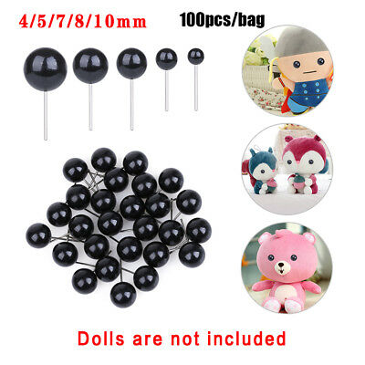 100Pcs Black Glass Dolls  Eyes Bears Needle Felting Animals Puppets making