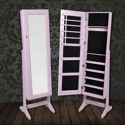 Mirror Cabinet Armoire Floor Free Standing Jewellery Storage Box With Lock PInk