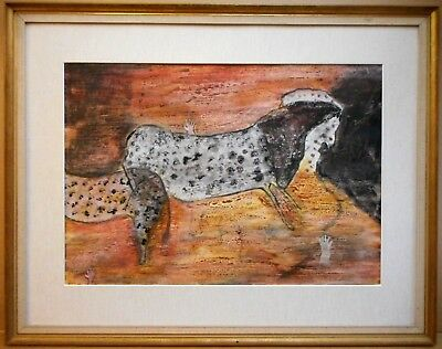 Lascaux Horse. Oil Monoprint by listed artist Marie Walker Last circa 1960
