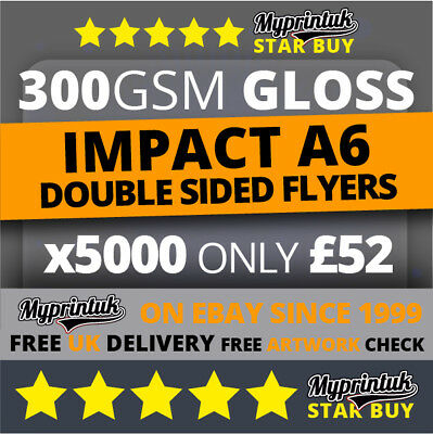 5000 A6 Flyers Leaflets Printed 300gsm Gloss