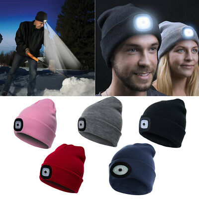Unisex LED Beanie Hat With USB Rechargeable Battery High Powered Head Lamp CO