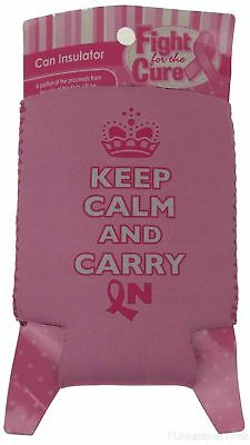 Keep Calm Carry On Breast Cancer Pink Can Insulator Lot of 11 Cooler Holder