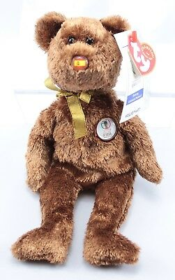TY Beanie Baby Brown FIFA 2002 World Cup Spain Collectible Plush Champion Bear
