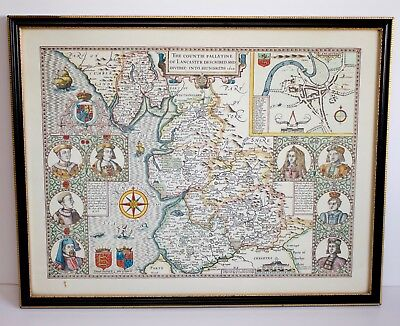 The County Pallatine of Lancaster Described and Divided into Hundreds 1610 Repro
