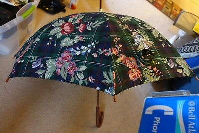 Ralph Lauren Polo Full Size Umbrella Floral Plaid Curved Wood Handle NEW