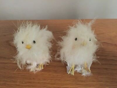 "two vintage REAL WHITE FEATHER CHICKS BIRDS - 2.5"" figurine - EASTER - free ship"