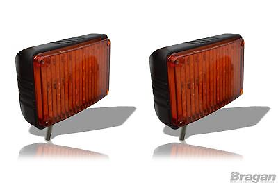 2x Amber Lens 24v Flashing Strobe LED Lights Recovery Truck Breakdown Lorry Lamp