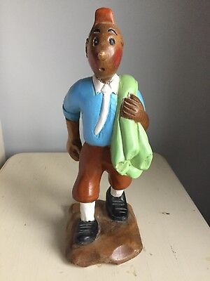New Large Tintin Wooden Figure Hand Carved