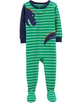 35f498439 NEW CARTERS 1-PIECE Green Dinosaur Fleece Footed Pajamas 3 4 5 ...