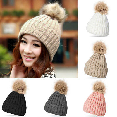 Women Ladies Winter Beanie Hat Warm Knitted With Large Pom Pom Bobble Cap