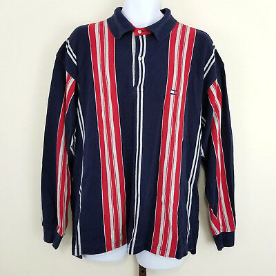 Vintage Tommy Hilfiger Mens XXL Red Navy Blue Striped Long Sleeved Cotton Shirt