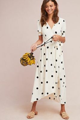 Anthropologie Breanna Polka Dot Wrap Dress NWT 16 Black Cream White Maeve 2018